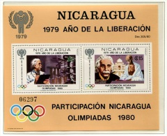 Olympic Games Nicaragua 1980 Bl 113 MNH ** Moscow 1980 Einstein Ghandi - Summer 1980: Moscow