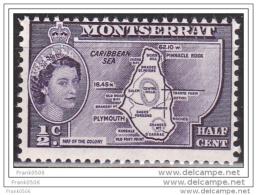 Monrserrat 1953, Map Of The Colony, 1/2d, MNH - Montserrat