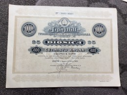 "AKTIE   SHARES   STOCK   STOCKS   BONDS   "" LIPA - MILL ""  PAPER  INDUSTRY   CROATIA 1920.  400 KRUNA - Industrie"