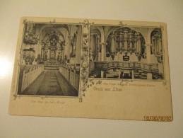LATVIA  GRUSS AUS LIBAU  CHURCH  INTERIEUR VIEW , ALTAR AND ORGAN , OLD POSTCARD  ,0 - Latvia