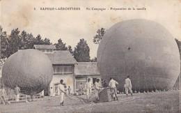 SAPEURS-AÉROSTIERS : PRÉPARATION DE LA NACELLE D'UN BALLON / FRANCE : MILITARY BALLOON ~ 1915 - ´16 (u-987) - Guerre 1914-18