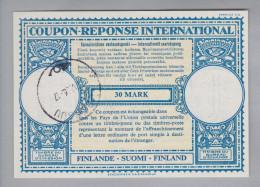 Finnland Ganzsache Coupon Réponse International Johnsuu 1956-05-12 30 Mark - Finlande