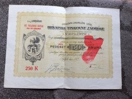AKTIE   SHARES   STOCK   STOCKS   BONDS  SPLIT CROATIA  50 KRUNA  1922. - Banque & Assurance