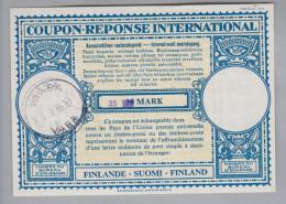 Finnland Ganzsache Coupon Réponse International Vaasa 1956-07-07 35 Auf 30 Mark - Finlande