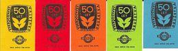 Tchécoslovaquie - Série De 5 Etiquettes (Štítky Matchbox) 50 Let Zapadoceska Spotrebni Druzctva - Solo Susice - Boites D'allumettes - Etiquettes