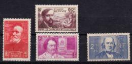 N° 436 / 437 / 438 / 439 ** CHOMEURS INTELLECTUELS 1939 - France