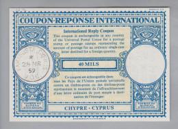 Zypern Cyprus Ganzsache Coupon Réponse International 1959-03-28 Famagusta 40 Mils - Chypre