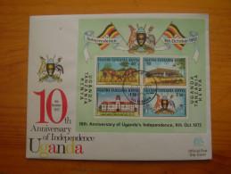 KUT 1972 10th.Anniv Of UGANDAN INDEPENDENCE SPECIAL MINISHEET On OFFICIAL ILLUSTRATED FDC. - Kenya, Uganda & Tanganyika