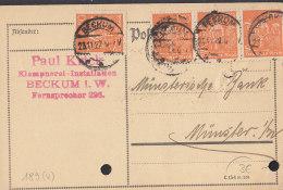 INFLA 4x 189 MeF, Auf PK Der Fa. Paul Krick, Mit Stempel: Beckum 23.11.1922 - Deutschland