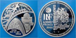 FRANCE 1 E 2000 ARGENTO PROOF SILVER EURO ART NOUVEAU 1 EURO 6,55957 FRANCHI PESO 22,2g TITOLO 0,900 CONSERVAZIONE FONDO - France