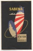 Etiquette Bagage. SABENA. To New York Via Brussels. - Baggage Etiketten