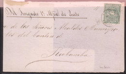 O) 1868 ECUADOR,   1 REAL GREEN, JUDICIAL MAIL,FRONT COVER FROM QUITO TO RIO BAMBA WITH EXTRAORDINARY MARGINS XF - Timbres