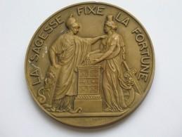 Imposante Médaille En Bronze -Dumarest -  LA BANQUE DE FRANCE - La Sagesse Fixe La Fortune **** EN ACHAT IMMEDIAT **** - Professionali / Di Società