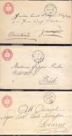 Suiza Año 1872-74  3 Sobres Postales    Matasellos Dornach, Russo, Reconvillier - Ganzsachen