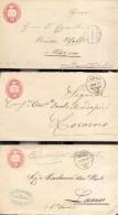 Suiza Año 18 74  3 Sobres Postales (1 Con Carta)   Matasellos Steinksa, Russo, Clarens - Ganzsachen