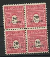 FRANCE - ARC DE TRIOMPHE - N° Yvert 710** BLOC DE 4 - 1944-45 Arco Di Trionfo