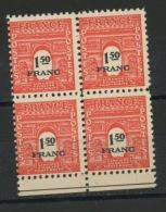 FRANCE - ARC DE TRIOMPHE - N° Yvert 708** BLOC DE 4 BORD DE FEUILLE - 1944-45 Triumphbogen