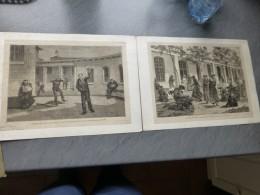PARIS Les Aliénés, Le Quartier Des FOUS Et Celui Des FOLLES à Saint-Anne, Lot De 2 Gravures Vers 1850 ? ; Ref 346 G 03 - Estampes & Gravures
