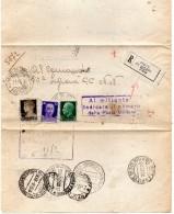 1940  LETTERA RACCOMANDATA CON ANNULLO  PIEVE DI SOLIGO TREVISO +  UFFICIO CONCENTRAMENTO POSTA MILITARE BOLOGNA + ALESS - Storia Postale