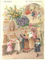 """""""au Bon Marché"""", Série Les Mois, Mars Les Giboulées,Avril Les Oeufs De Pâques,enfants Devant Vitrine, 16cm X 11.5 Cm - Au Bon Marché"""