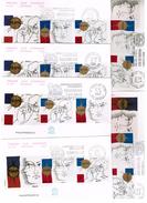 FRANCE-  FDC HISTORIQUE  N° 1215 -PHILEXFRANCE 82- PAIRE TREMOIS  N° 2142A -3 PLIS PARIS +  8 PLIS DES VILLES DE FRANCE - 1980-1989