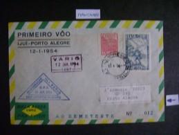 VARIG - ENVELOPE 1º VOO IJUI - PORTO ALEGRE / RS WITH STAMPS Allusive, AS - Post