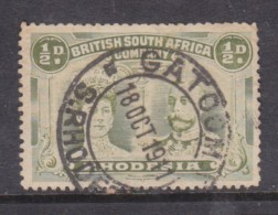 Southern Rhodesia: B.S.A.C, 1910, Double Head, 1/2d Yellow-green, Perf 14,  GATOOMA 1911  C.d.s. - Southern Rhodesia (...-1964)