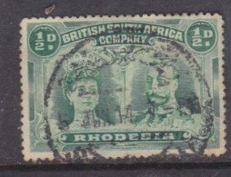 Southern Rhodesia: B.S.A.C, 1910, Double Head, 1/2d Blue-green, Perf 14, Used C.d.s. - Southern Rhodesia (...-1964)