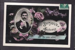 CPA 30 - BEAUCAIRE - LE BONJOUR Affectueux De BEAUCAIRE - TB CP Fantaisie Sur La Commune Personnage Médaillon - Beaucaire