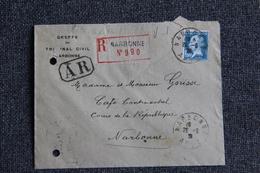 Enveloppe Timbrée Du Greffe Du Tribunal Civil De NARBONNE ( AR ). - 1922-26 Pasteur