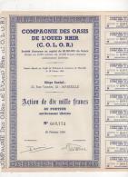13-OASIS DE L'OUED RHIR. CIE DES ...( C.O.L.O.R.) MARSEILLE Et ALGERIE. Action - Shareholdings