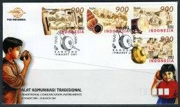 INDONESIE: ZB 2173/2176 FDC 2001 Instrumenten Voor Communicatie - Indonésie