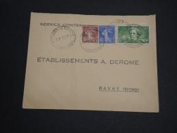 FRANCE - Type Semeuse Perforé AD Sur Enveloppe Pour Bavay En 1937 , Affranchissement Plaisant - A Voir - L 2826 - Perforés