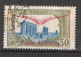TUNISIE , Poste Aérienne / Airmail 1920  Yvert N° 2, 30 C Olive / Bleu  Obl TB - Aéreo