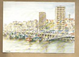 Jolie CP 62 Boulogne Sur Mer Les Quais Et Le Port De Pêche - Aquarelle De J. Colombi - Tableau Peinture Peintre - Boulogne Sur Mer