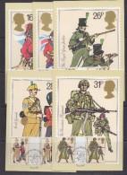 Great Britain 1983 British Army 5v  Gutter 5 Maxicards  (att. 1 Card Small Wrinkle In Corner)  (32255) - Maximumkaarten