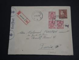 BELGIQUE - Enveloppe En Recommandée De Verviers Pour Paris En 1942 Avec Contrôle Allemand - A Voir - L 2853 - Belgium