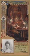 Chromos - Lefèvre-Utile - Art Nouveau - Gaufrée - Théâtre -Reine Religion - Léonie Yahne - Lu