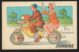 G. CPA - Un Bonjour De JURBISE - Carte Fantaisie - Vélo - Tandem  // - Jurbise