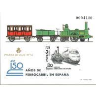 ESPO67STV-LFTPRU067.España.Spain.Espagne PRUEBA OFICIAL.150 AÑOS DE FERROCARRIIL EN ESP-1998 .(Ed PO 67) Sin Dentar.LUJO - Variedades & Curiosidades