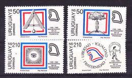 FRENCH REVOLUTION 200ANIV MASONIC MASONERY PLUMB URUGUAY Sc#1281/1284 MNH STAMP - Uruguay