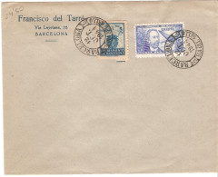Carta Dr.Thebussen Con Matasellos Negro Y Sello De Barcelona De 1944 Dia Del Sello - 1931-Today: 2nd Rep - ... Juan Carlos I