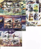 Tchad, Burundi, Rwanda, La Premiere Guerre Mondiale Des Avions,...Concorde... Fantasy Labels, Souvenir Sheets - Vignettes De Fantaisie