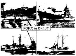 (M+S 886) France - Warship In Port Of Brest + Large Crane - Warships