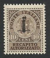 Italy, Socialist Republic, 10 C. 1944, Scott # EY1, MH. - 4. 1944-45 Social Republic