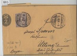 1900 Streifband 15 - Mit Ziffermuster 59B 51Y Fahlgrau - Stempel: Zürich Nach Utting Ammersee Deutschland - Entiers Postaux