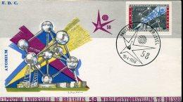 13392  Belgium  Fdc  World  Exhibition Of Bruxelles 1958,  15.4.1958  (3,00+1,50)