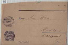1897 Nachnahme NN - Ziffermuster 64B 57Y - Von Frauenfeld Nach Wohlen (J. Huber's Buchhandlung) - 1882-1906 Armoiries, Helvetia Debout & UPU