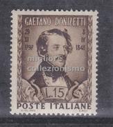 MC 1948 Repubblica  Donizzetti 15 Lire MNH** - 1946-.. République
