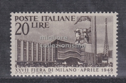 MC 1949 Repubblica Fier Di Milano 20 Lire MH* - 1946-.. République